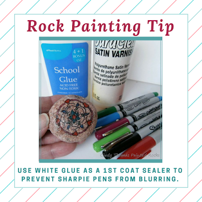 White Glue over Sharpies Prevents Blurring by Cindy Thomas