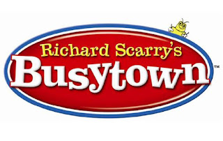 oval shaped logo of Richard Scarry's Busytown