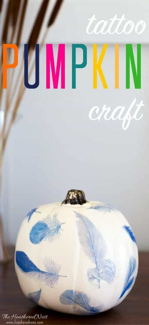 Using tattoo paper on pumpkin craft