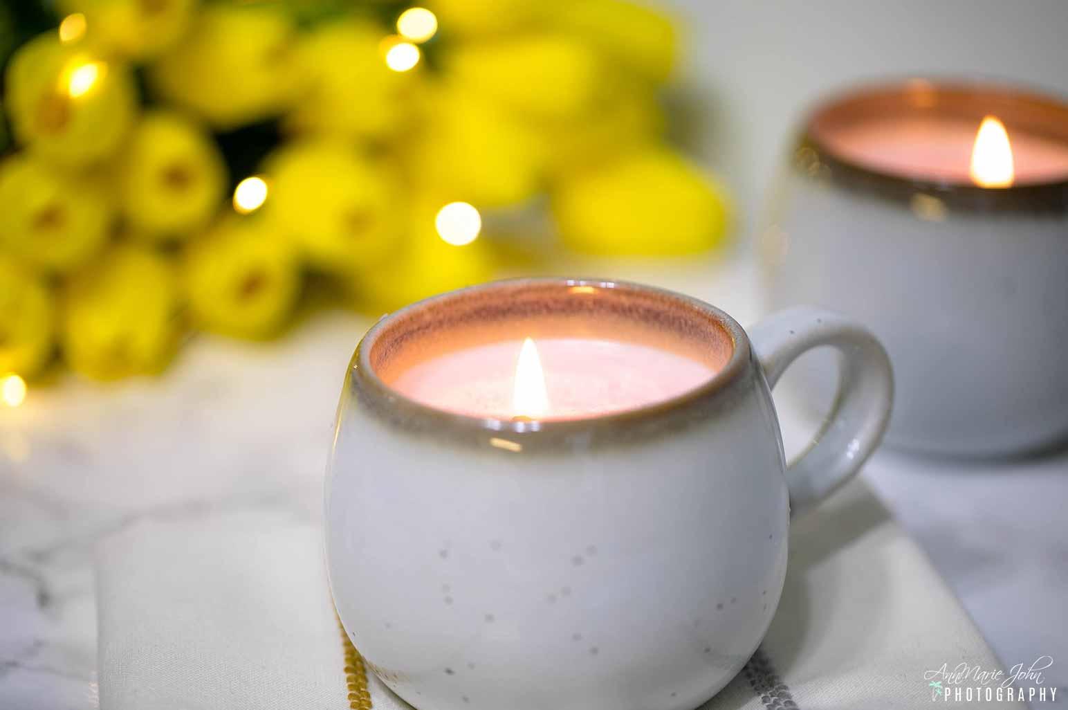 DIY Stoneware Mug Candle Lit