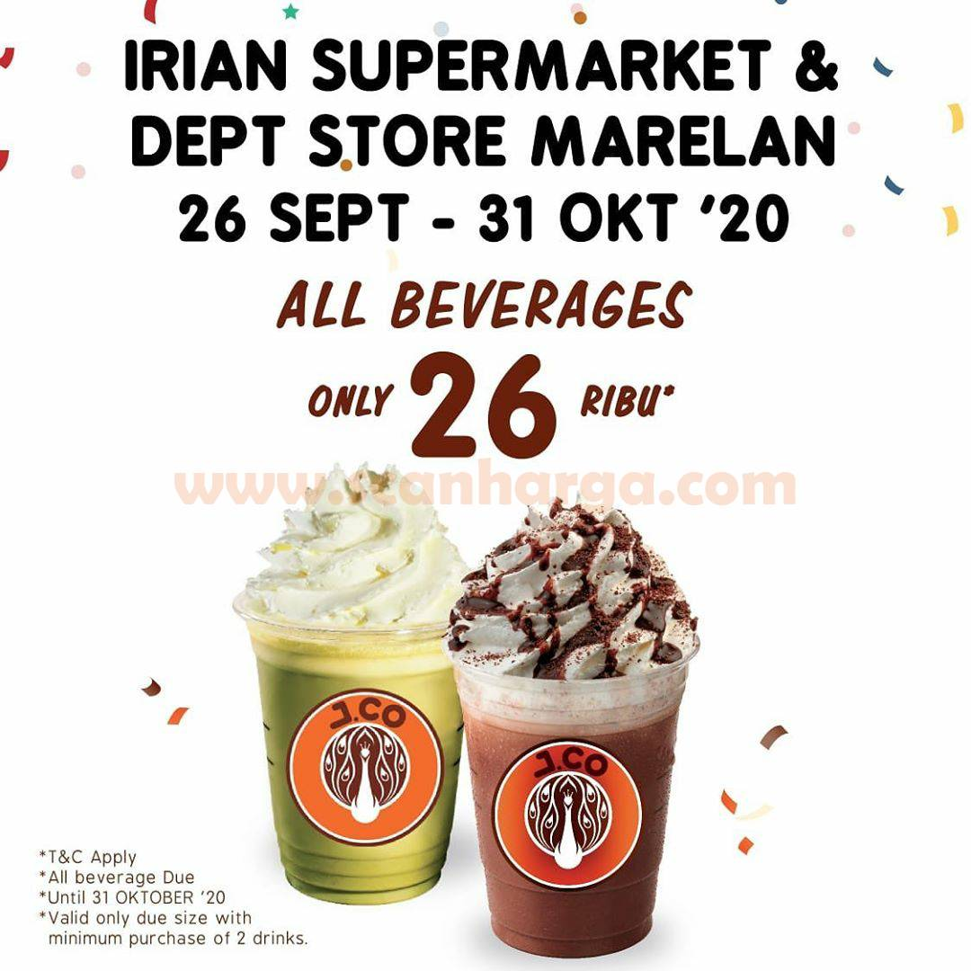 JCO Irian Supermarket & Deptstore MARELAN Promo Opening All Beverages Cuma 26Ribu