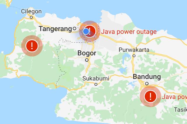 Google Maps Juga Hadirkan Informasi Terkait Pemadaman Listrik Pulau Jawa Pada Aplikasinya