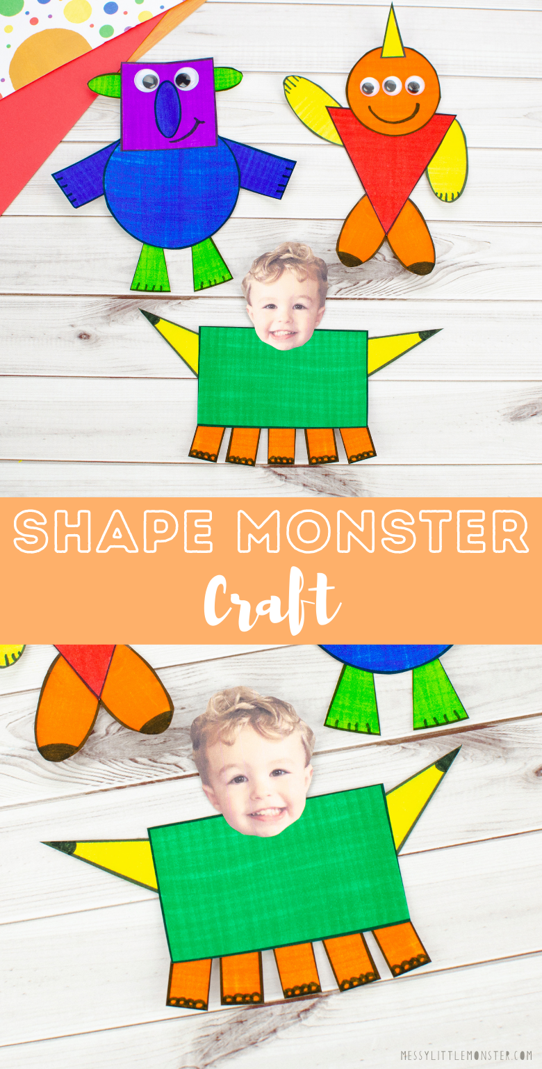 Shape monster craft for kids. An easy shape craft with printable shape monster template. Shape activity for preschoolers.