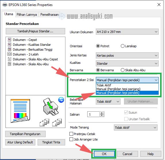 Cara Print Bolak Balik di Epson Semua Tipe