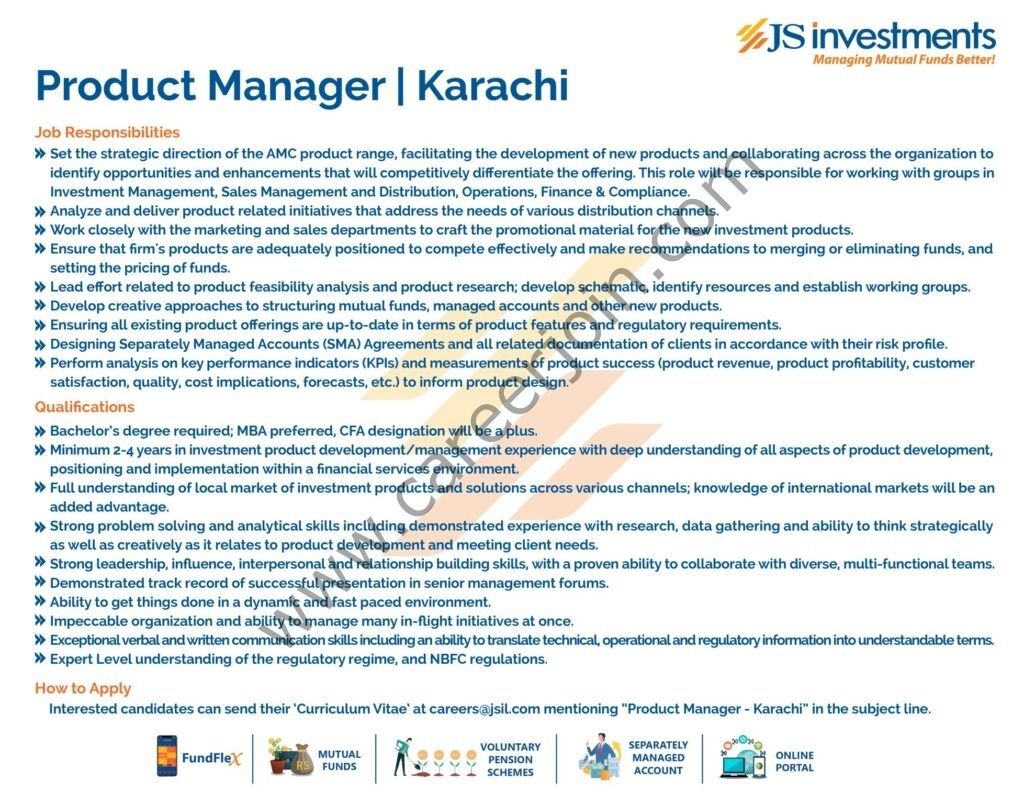 JS Investments Ltd Jobs Product Manager