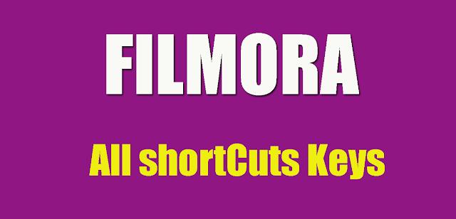 Filmora keyboard shortcuts list