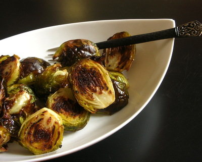 Roasted Brussels Sprouts ♥ AVeggieVenture.com, roasted until slightly caramelized. Low Carb. Vegan. Totally delicious! Rave reviews!