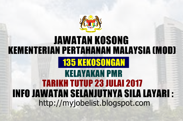 Jawatan Kosong di Kementerian Pertahanan Malaysia (MOD) Julai 2017
