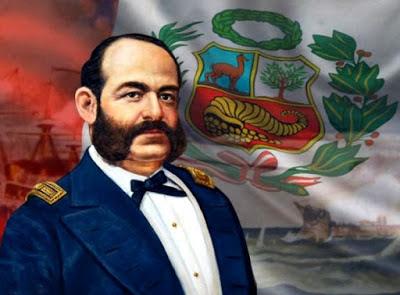 Dibujo de Miguel Grau con el fondo de la bandera peruana