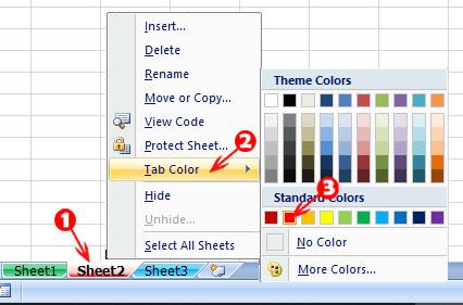 Change Worksheet Tab Colour in Hindi