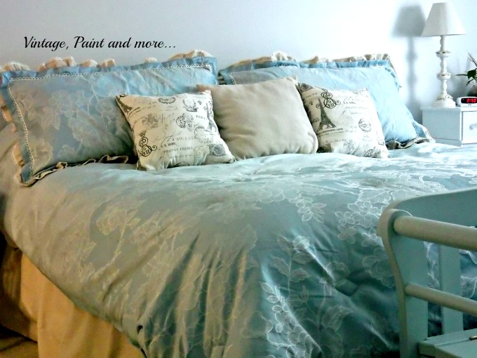 Updated Master Bed - bed linens in blue, drop cloth bed skirt, diy pillow sham upcycle