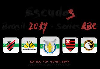 Pack Escudos Kristal Brasfoot 2019 - Brasileirão 2019 - Serie A/B/C