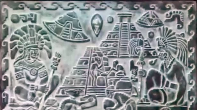 UFOs carved into stone from ancient Earth.