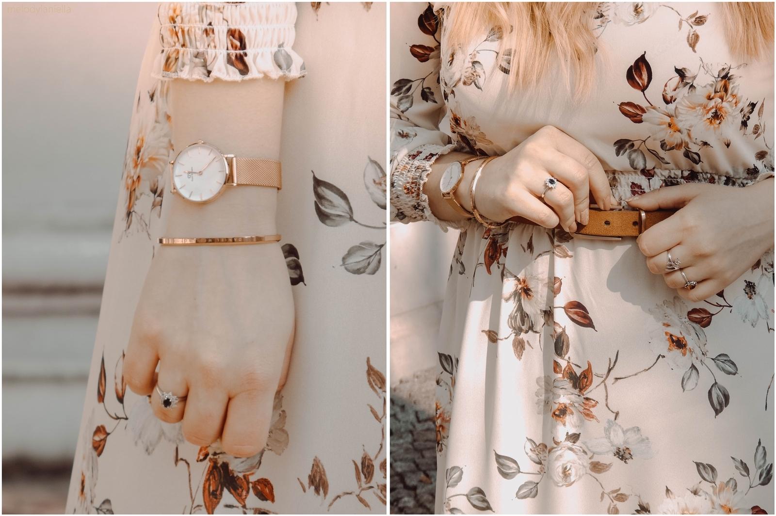 6a stylizacja boho sukienka w kwiaty kapelusz pasek buty zegarek daniel wellington znizka cena melodylaniella