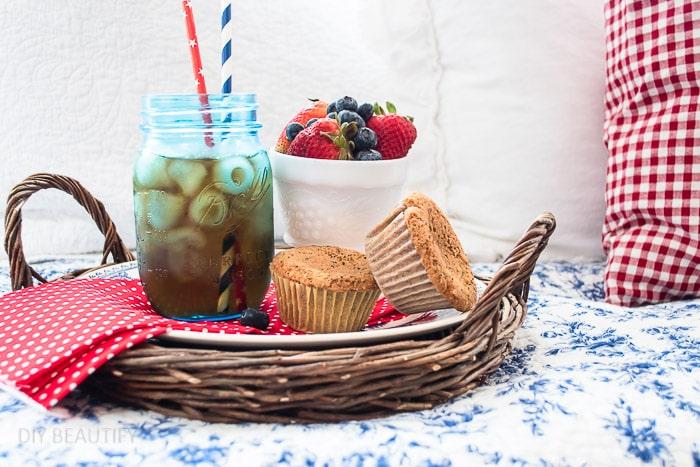 flat basket with snacks