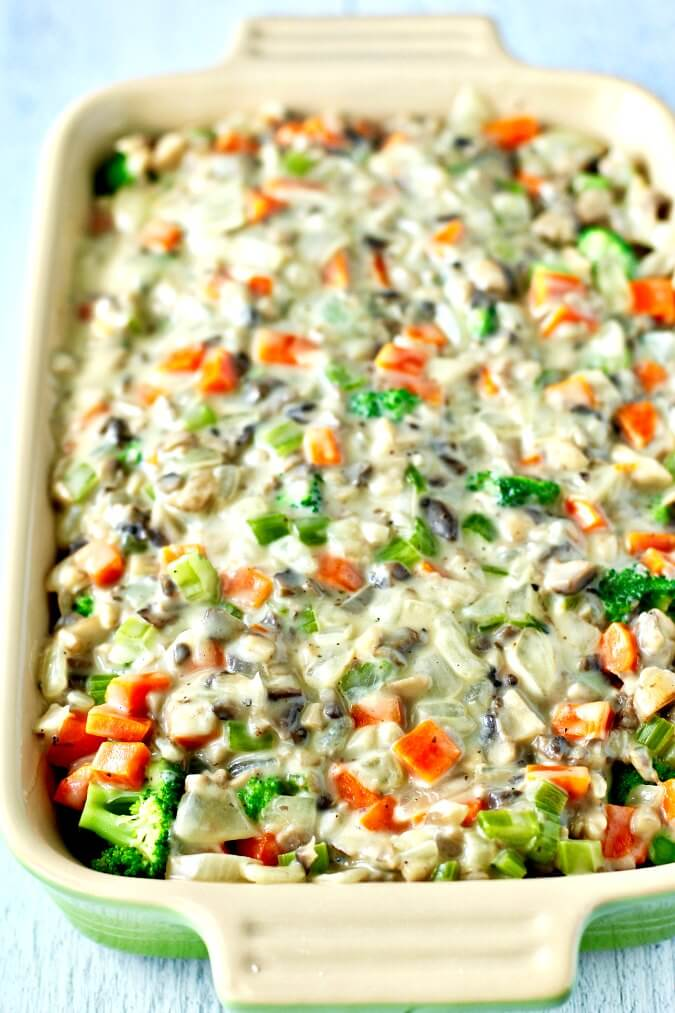 Wild Rice and Broccoli Casserole before topping and baking