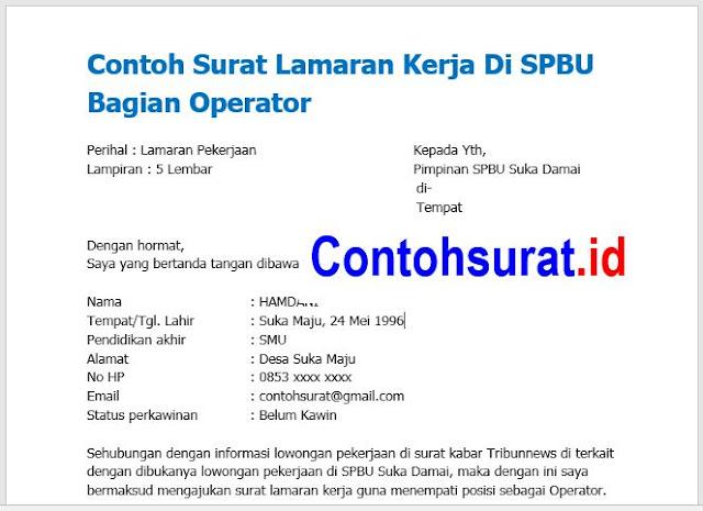 Contoh Surat Lamaran Kerja Di SPBU Bagian Operator