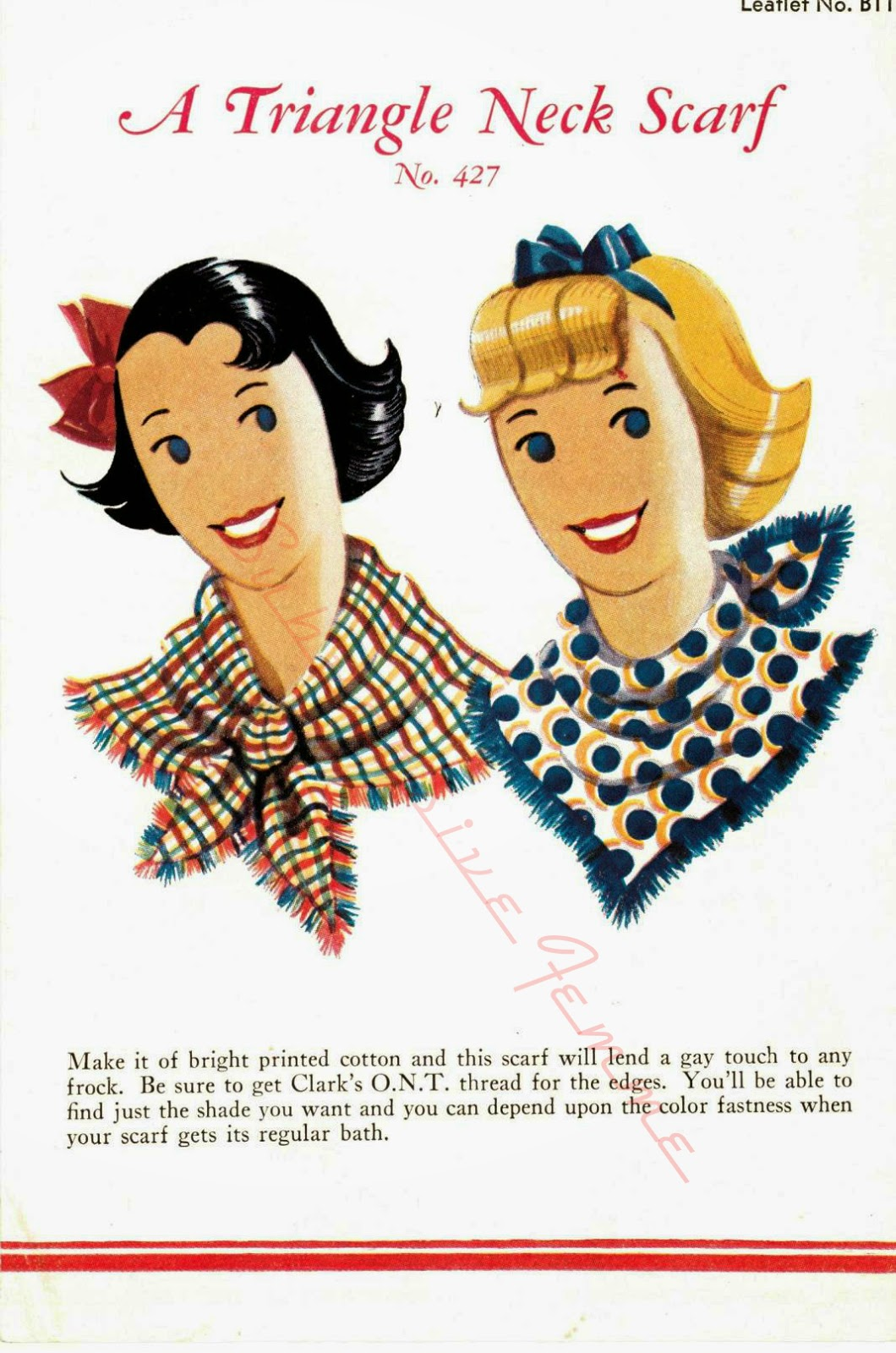 The Vintage Pattern Files: Free 1930's Sewing Pattern - A Triangle Neck Scarf