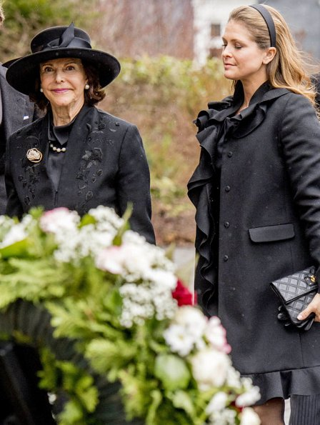 Queen Margrethe, Princess Mary, Princess Marie, Princess Madeleine, Queen Silvia, Queen Maxima, King Willem, Queen Sonja, Queen Anne-Marie at funeral of Prince Richard
