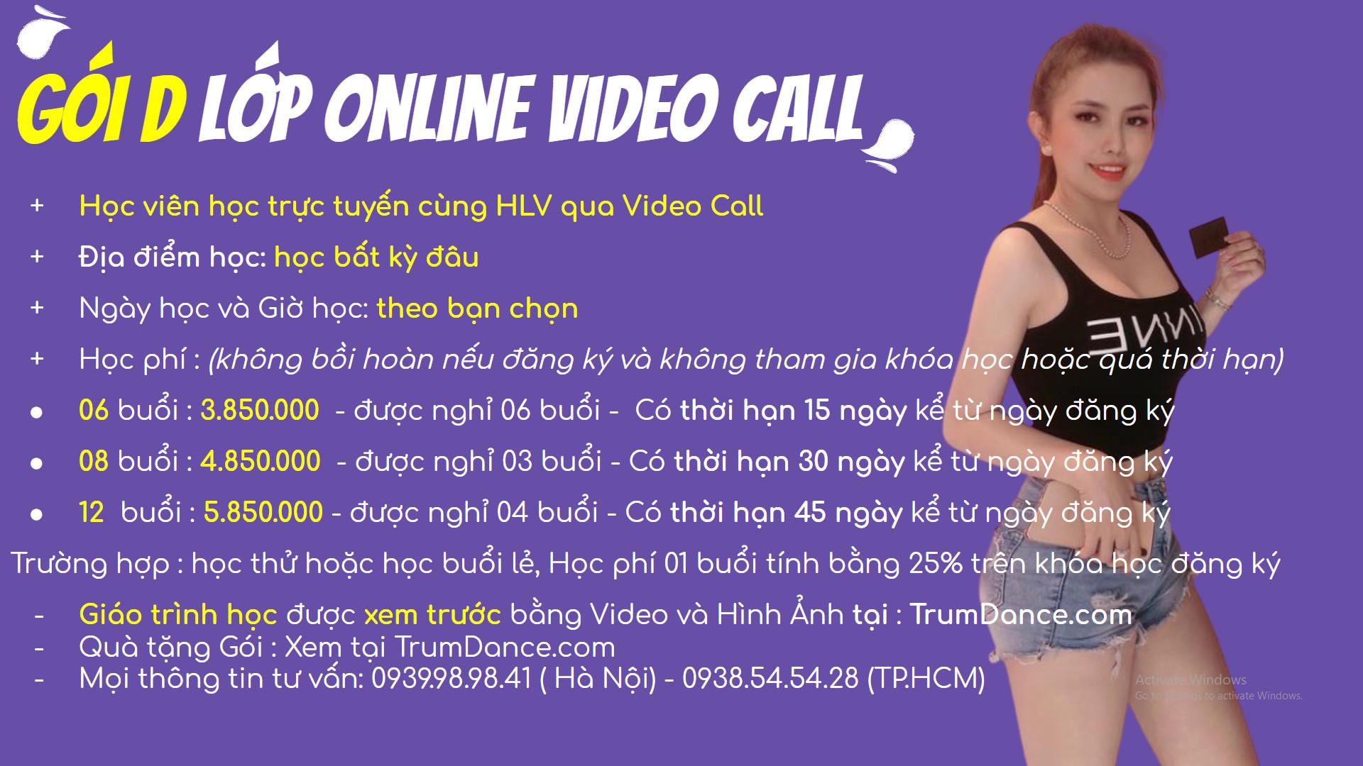 Bảng học phí học nhảy Trumdance - Lớp Video Call Online