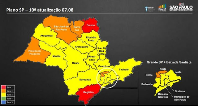 Cidades dos DRSs de Marília e Pres Prudente permanecem na mesma cor no Plano São Paulo