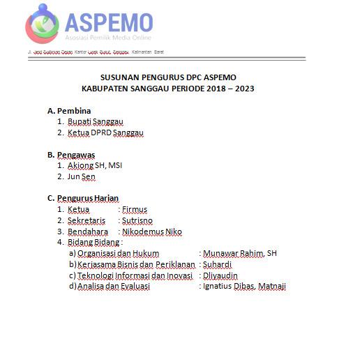 Dpc Aspemo Kabupaten Sanggau Resmi Terbentuk
