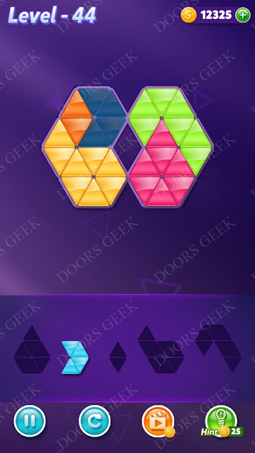 Block! Triangle Puzzle 5 Mania Level 44 Solution, Cheats, Walkthrough for Android, iPhone, iPad and iPod