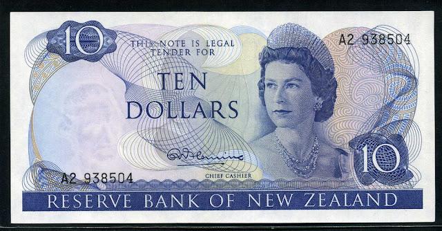 money New Zealand currency 10 Dollars Queen Elizabeth II