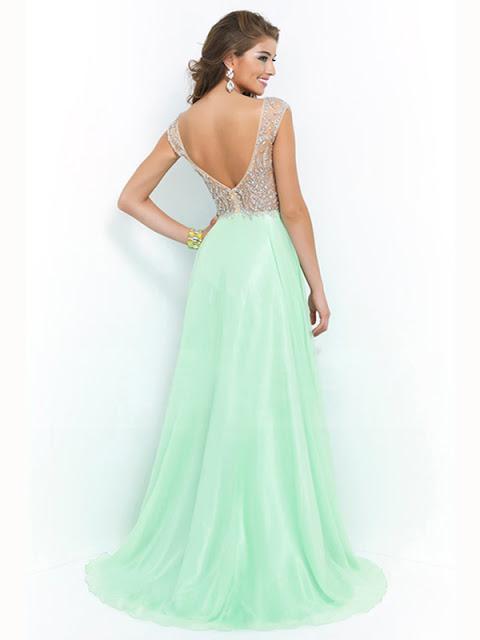 A-line V-neck Chiffon Rhinestone Prom Dresses/Evening Dresses