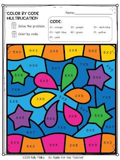 Diwali Color by Number Multiplication fireworks colored