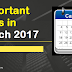 Important Days in March 2017
