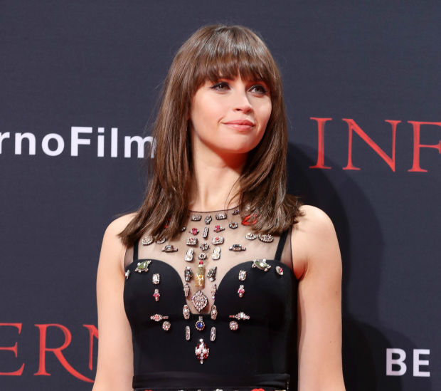 Felicity Jones wearing Alexander McQueen at the Inferno premiere in Berlin