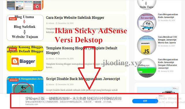 Tampilan Iklan Sticky AdSense Versi Desktop