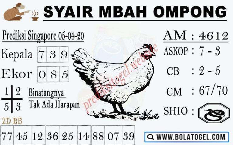Prediksi Togel Singapura Minggu 05 April 2020 - Syair Mbah Ompong SGP