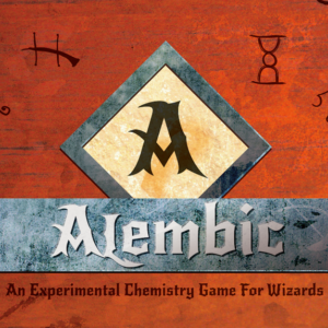 The cover art: a stylized capital A in a square, with the title and tag line 'An Experimental Chemistry Game for Wizards' underneath it, on a brown parchment-like background.