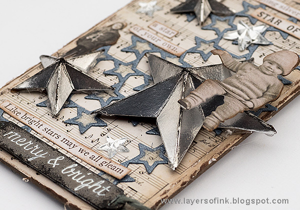Layers of ink - Sparkling Silver Star Christmas Ornament by Anna-Karin Evaldsson with Tim Holtz Christmas baseboards.