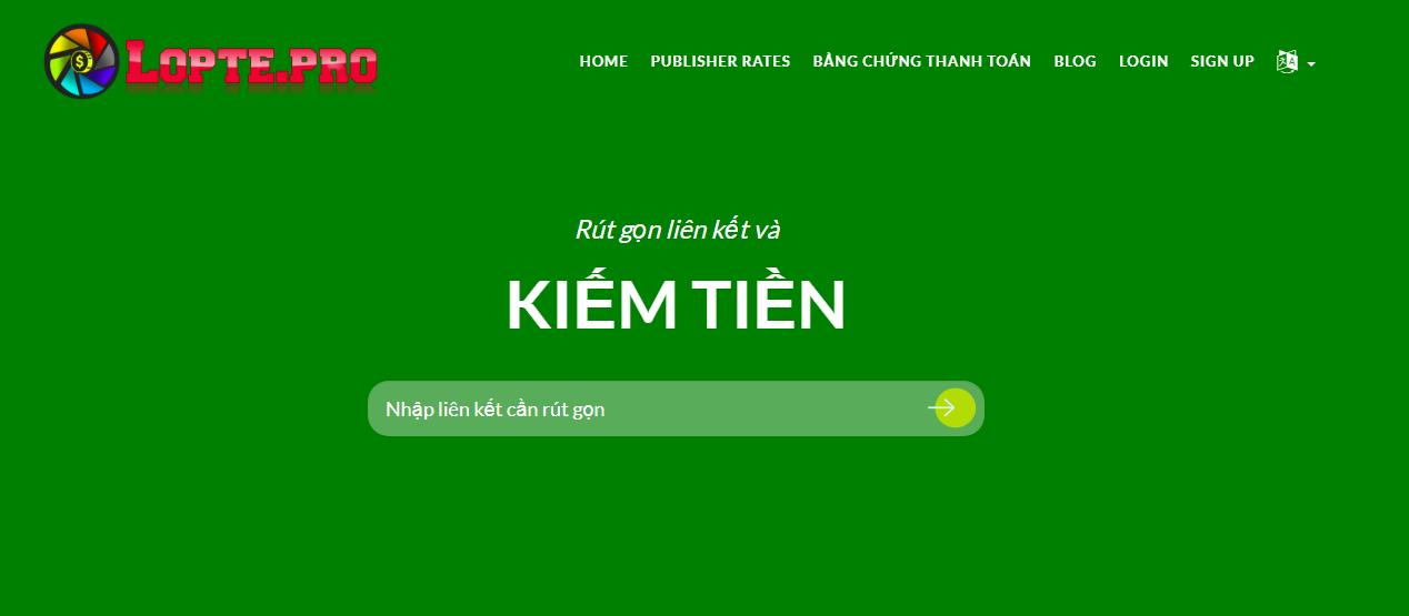 Hướng dẫn rút gọn link kiếm tiền với loptelink.pro