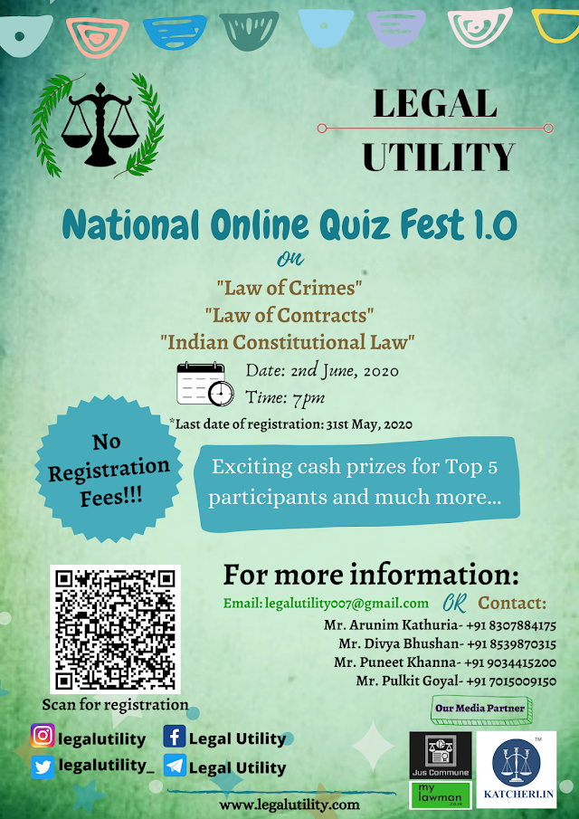 [Online] National Quiz Fest 1.0 by Legal Utility [Register by 31 May]