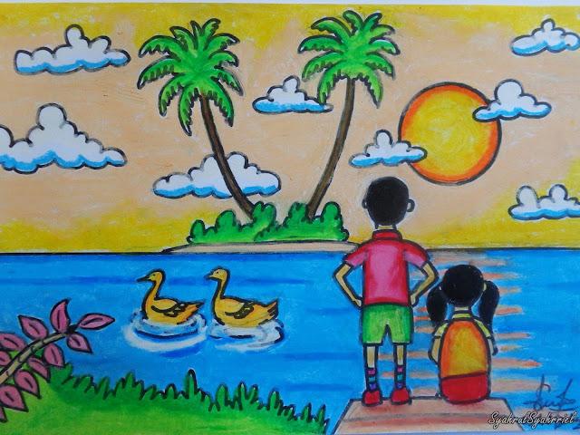 Lukisan Crayon Pemandangan Alam
