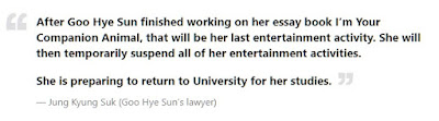 Goo Hye Sun Retirement is Just Temporary, She is Going Back to University