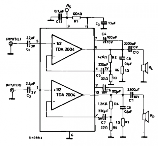 Basic Of Electronics: Stereo audio amplifier with TDA 2004