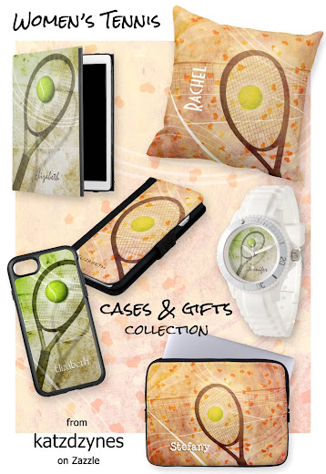 Women's tennis device cases and gifts--choose from two design styles. Get a Grip is an abstract tennis graphics composite in a grass and clay color theme with racquet, ball and tennis court graphics. Tennis Love is a cute girls' tennis composite of tennis racquet, ball and court graphics on a mottled pale pink background with tiny scattered peach and orange hearts floating on a gentle breeze around the tennis court