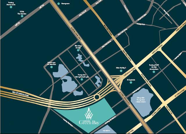 Vị trí dự án Vinhomes Green Bay Mễ Trì