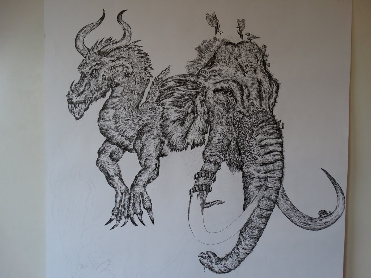 03-Dragon-and-Mammoth-Dušan-Krtolica-Душан-Кртолица-Drawing-Animals-and-Insects-from-His-Memory-Bank-www-designstack-co
