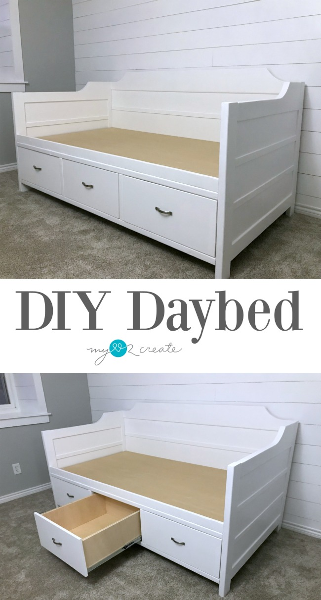 Make you own DIY Daybed with large storage drawers at MyLove2Create.