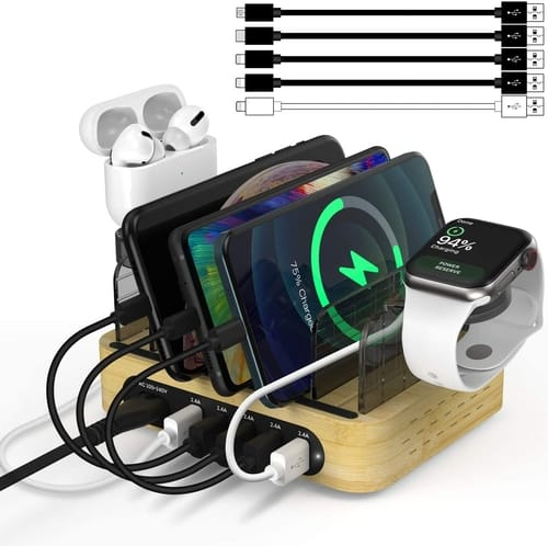 NEXGADGET Bamboo Charging Station for Multiple Devices