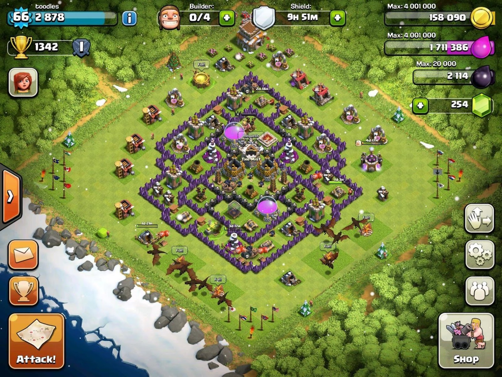 clash of clans best defense town hall 8 farming