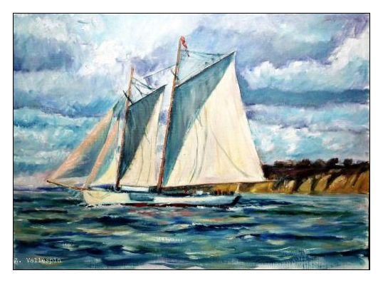 Oleo de un balandro saliendo de puerto (Vela clasica)