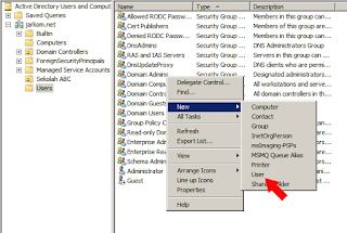 Pembuatan user account active directory