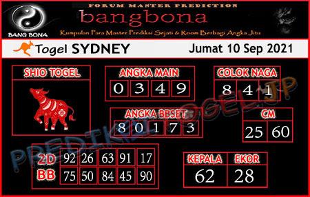 Prediksi Bangbona Sydney Jumat 10 September 2021